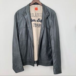 Hugo Boss Lambskin Leather Bomber Jacket